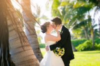 Bride and groom in Maui