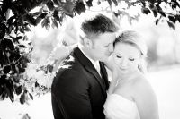Bride and groom under tree in black and white