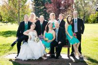Bridal party on park bench